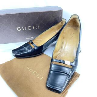 グッチ(Gucci)のGUCCI グッチ スクエアトゥ レザー パンプス 36ハーフ(ハイヒール/パンプス)