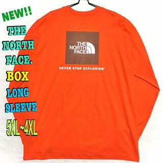ザノースフェイス(THE NORTH FACE)の最大 ♪ 新品 ノースフェイス BOX NSE ロンT オレンジ 5XL 4XL(Tシャツ/カットソー(七分/長袖))