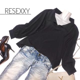 リゼクシー(RESEXXY)のリゼクシー スキッパーシャツ 黒 トップス 後ろ開き セクシー レディース(シャツ/ブラウス(長袖/七分))