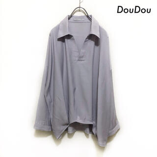 ドゥドゥ(DouDou)のDouDou ドゥドゥ★長袖スキッパーブラウス シャツ とろみ素材 ラベンダー(シャツ/ブラウス(長袖/七分))