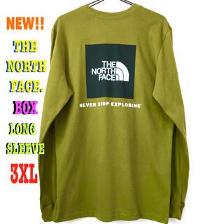 ザノースフェイス(THE NORTH FACE)のナチュラル ☆ 3XL相当 新品 ノースフェイス BOX ロンT モスグリーン(Tシャツ/カットソー(七分/長袖))