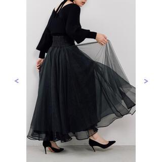 ラベルエチュード(la belle Etude)の【美品】ハイウエストデニムボリュームチュールスカート(ロングスカート)