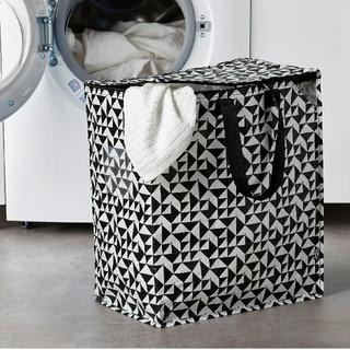 IKEA - イケアIKEAエコバッグKNALLA クナラ バッグ, ブラック/ホワイト47L