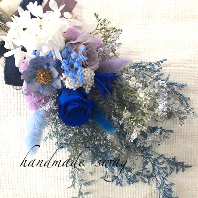 ♡れれれ☆様専用No.444 blue*white  スワッグブーケ♡ ハンドメイドのフラワー/ガーデン(ドライフラワー)の商品写真