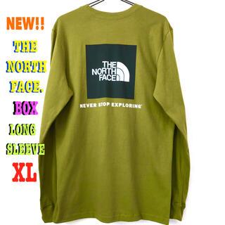 ザノースフェイス(THE NORTH FACE)のナチュラル ♪ XL相当 新品 ノースフェイス BOX NSE ロンT(Tシャツ/カットソー(七分/長袖))
