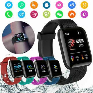 スマートウォッチ 116plus ブラック スマートブレスレット ウェアラブル(腕時計(デジタル))