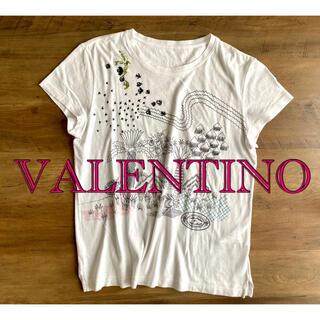 ヴァレンティノ(VALENTINO)のValentino ビーズ刺繍 プリント Tシャツ(Tシャツ(半袖/袖なし))