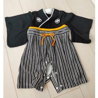 袴風 ロンパース 70 黒 和装 男の子(和服/着物)