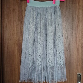 カラー(Color)のグレー プリーツチュールスカート(ひざ丈スカート)