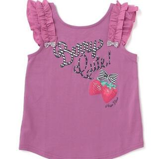 メゾピアノ(mezzo piano)のメゾピアノ ロゴ×イチゴ肩フリルノースリーブTシャツ(Tシャツ/カットソー)
