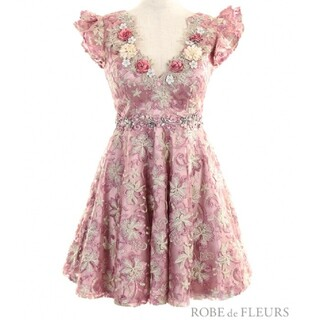 ROBE - robe  de fleurs 3Dフラワーモチーフ フレア ドレス