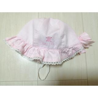 セリーヌ(celine)のベビー 帽子 44サイズ セリーヌ 紐付き リボン ピンク(帽子)