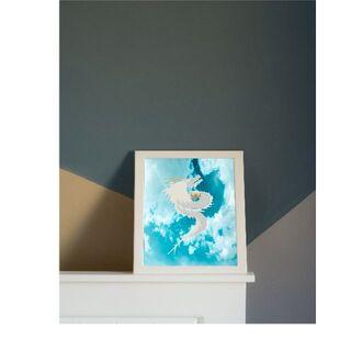 【龍・竜の水彩画風イラスト】青空 写真 雲 シンプルアート 絵画 昇龍 上龍(彫刻/オブジェ)