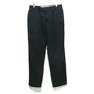 ジーユー(GU)のGU リネン コットン 混 パンツ S 紺 ネイビー チノパン W76 ジーユー(チノパン)