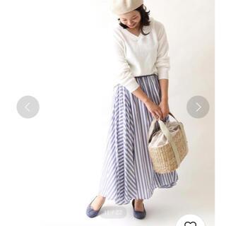 コーエン(coen)の美品coen【Market】ストライプマキシスカート★ブルー(ロングスカート)
