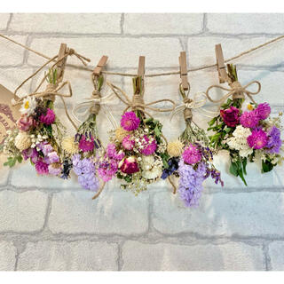 ドライフラワー スワッグ ガーランド❁221 母の日ギフトに♪ピンク薔薇 花束(ドライフラワー)