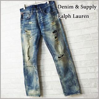 デニムアンドサプライラルフローレン(Denim & Supply Ralph Lauren)の【Denim & Supply】ハードクラッシュ&サンド汚し加工 スリム デニム(デニム/ジーンズ)