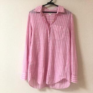 ギャップ(GAP)のGAP ピンク ストライプシャツ 長袖 XS コットンシャツ(シャツ/ブラウス(長袖/七分))