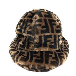 フェンディ(FENDI)の新品同様 フェンディ 65069910 ズッカ ハット 帽子 ブラウン(ニット帽/ビーニー)