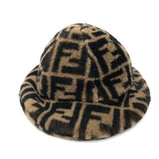 フェンディ(FENDI)の美品 FENDI フェンディ JUP009 ズッカ ハット 帽子 ブラウン(ハット)