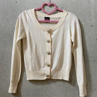 バービー(Barbie)の★バービー★ニット ホワイト 白 Mサイズ ビーズボタン(ニット/セーター)