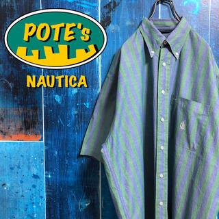 NAUTICA - 【ノーティカ】ポケット刺繍ロゴ半袖ボールドストライプシャツ 90s