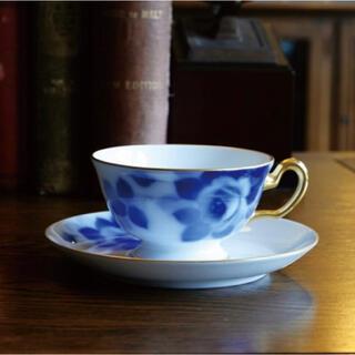 オオクラトウエン(大倉陶園)のブルーローズ(8011) カップ&ソーサー 1客(食器)