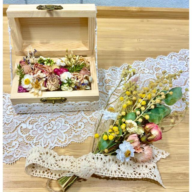 ドライフラワー インテリア2点セット❁¨̮ 母の日ギフトに♪黄色 ミモザ 花束 ハンドメイドのフラワー/ガーデン(ドライフラワー)の商品写真