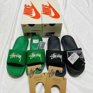 ナイキ(NIKE)のStussy Nike ベナッシ ブラック グリーン 2足セット 新品未使用(サンダル)