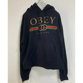 オベイ(OBEY)のOBEY パロディ パーカー ブラック(パーカー)
