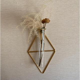 ザラホーム(ZARA HOME)の【ダイヤ】ワイヤーフラワーベース アイアン 壁掛け花瓶 シンプル 一輪挿し(花瓶)