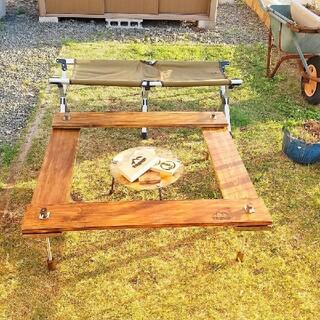 キャンプ!囲炉裏テーブル (天板カラーオリーブ)(アウトドアテーブル)