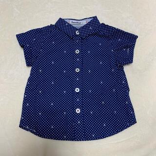 ファミリア(familiar)のシャツ 半袖 ドット イカリ マリン ネイビー ホワイト 襟付 80 ファミリア(シャツ/カットソー)