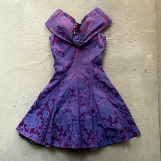 ガニーサックス(GUNNE SAX)の80's JQD Satin sleeveless dress / Purple(ひざ丈ワンピース)