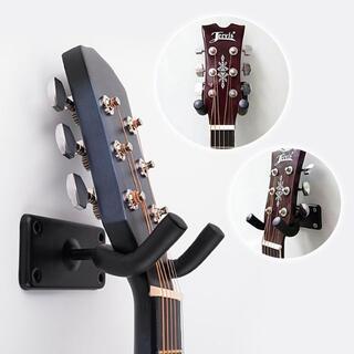 ギター好き必須アイテム 壁掛けギタースタンド ブラック 便利 ハンガー(その他)