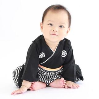 袴ロンパース 黒70サイズ 新品未使用 はかま 男の子 和装 お食い初め 初節句(和服/着物)