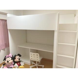 イケア(IKEA)の引取限定☆IKEA STUVA☆イケア ストゥヴァ ロフトベッド 椅子付☆(ロフトベッド/システムベッド)