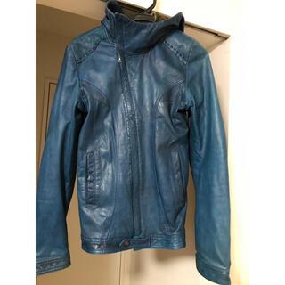 ルグランブルー(LGB)の14t addictionブルーレザーライダースジャケット希少ゴートスキン(ライダースジャケット)