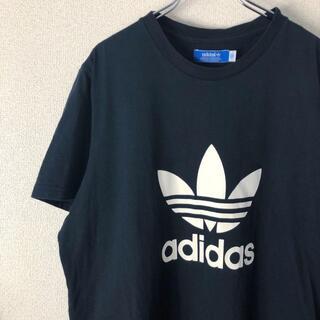 アディダス(adidas)のアディダス adidas デカロゴ プリント 半袖 Tシャツ ブラック黒 XL(Tシャツ/カットソー(半袖/袖なし))