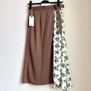エニィスィス(anySiS)の新品 コトリカ アシンメトリー スカート ページュ 花柄 フラワー S(ひざ丈スカート)