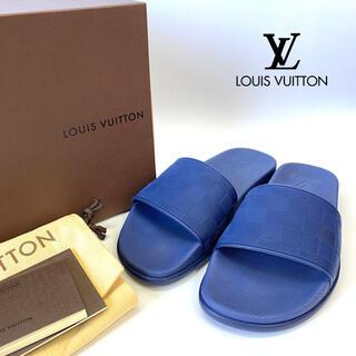 ルイヴィトン(LOUIS VUITTON)の美品 ルイヴィトン ウォーターフロントライン サンダル ダミエ ブルー 26㎝(サンダル)