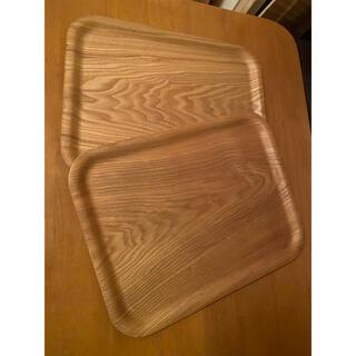 ムジルシリョウヒン(MUJI (無印良品))の●2枚セット 大きめ木製トレー カフェトレー お盆 ランチョンマット(テーブル用品)