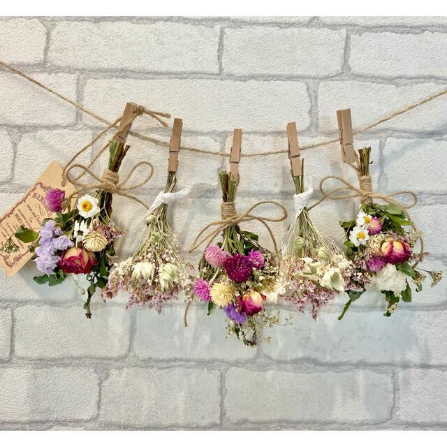 ドライフラワー スワッグ ガーランド❁226母の日ギフト♪ピンク薔薇 白 花束 ハンドメイドのフラワー/ガーデン(ドライフラワー)の商品写真