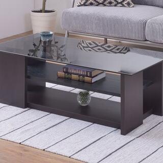 棚付きガラステーブル 100 ダークブラウン  センターテーブル(ローテーブル)