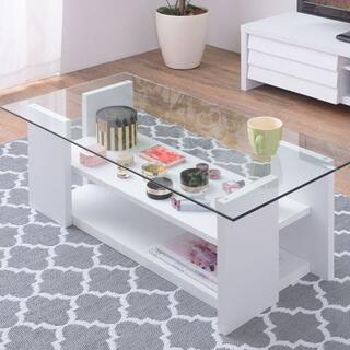 棚付きガラステーブル 100 ホワイト センターテーブル(ローテーブル)