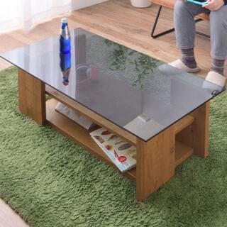 棚付きガラステーブル 100 ライトブラウン  センターテーブル(ローテーブル)