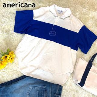 アメリカーナ(AMERICANA)のアメリカーナ ラガーシャツ ポロシャツ ボーダー ホワイト ブルー(Tシャツ(半袖/袖なし))