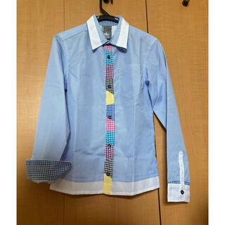 アップスタート(UPSTART)のUPSTART ストライプシャツ ライトブルー M(シャツ)