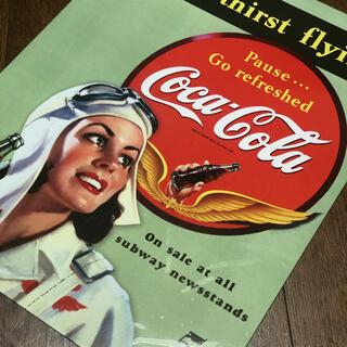 コカコーラ(コカ・コーラ)のSENDS thirst flying ブリキ看板405 ×315(ソフトドリンク)