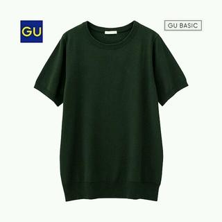 ジーユー(GU)の【GU】クルーネックセーター(半袖)モスグリーン(ニット/セーター)